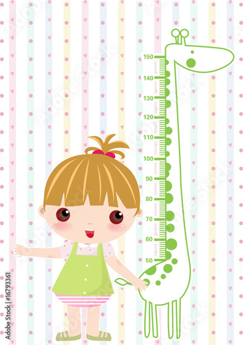 Poster de jardin Echelle de hauteur Kid girl scale hight