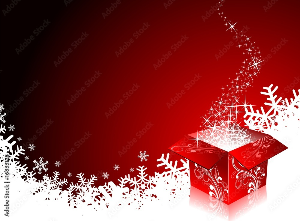 Foto-Doppelrollo - Christmas illustration with gift box on red background