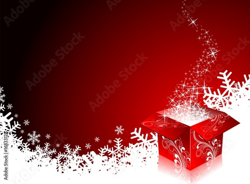 Foto-Rollo - Christmas illustration with gift box on red background (von articular)
