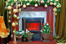 Fireplace With A Christmas Dec...