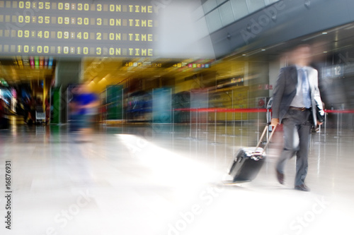 Poster Voies ferrées Business man at the Airport
