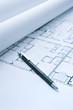 Blue Print Floor Plans with Mechanical Pencil