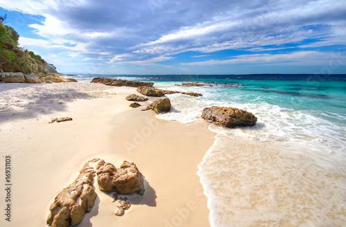 Printed kitchen splashbacks Australia rocks on hyams beach