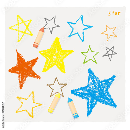 Obraz クレヨンで描いた星 - fototapety do salonu