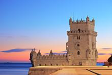 Tower Of Belem (Torre De Belem), On Sunset, Lisbon, Portugal