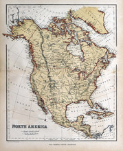 Old Map Of North America, 1870