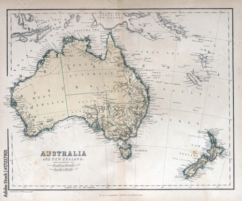 Poster Australie Old map of Australia & New Zealand, 1870