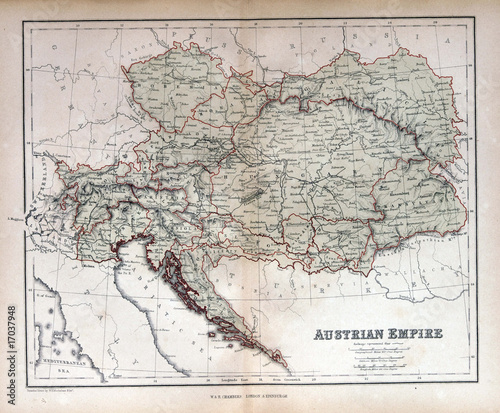 Obraz na plátně Old map of Austria, Hungary, Czech Republic, Slovakia 1870