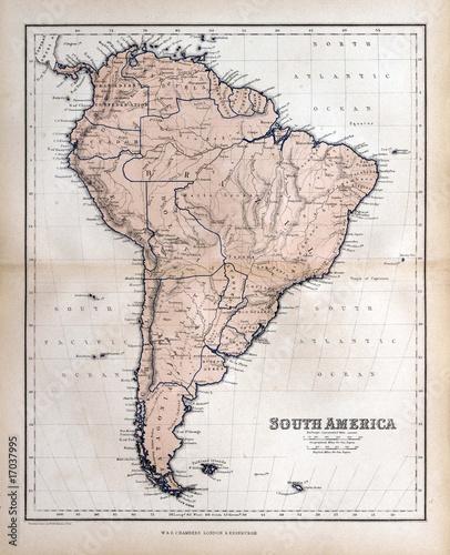 Fotografía  Old map of South America, 1870