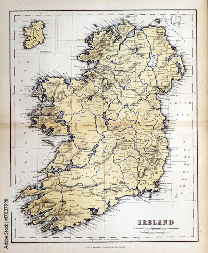 In de dag Retro Old map of Ireland, 1870