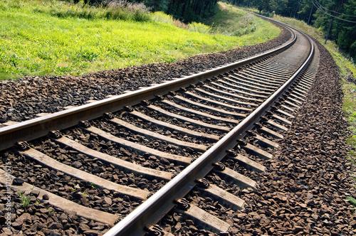 Keuken foto achterwand Spoorlijn Railroad track perspective into a forest area