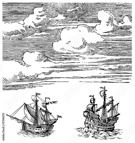 Ships vector Canvas Print