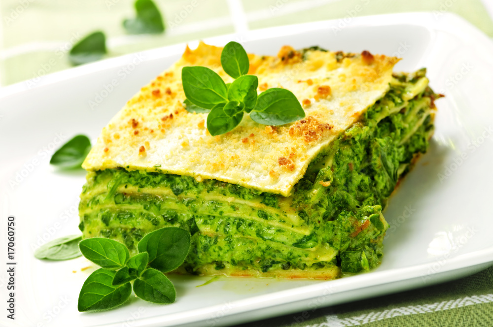 Fototapety, obrazy: Plate of vegeterian lasagna