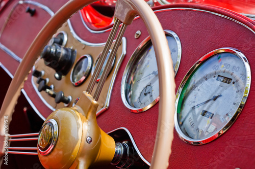 Vintage Car Dashboard with reflections