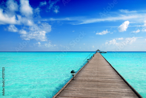 Foto-Kissen - Jetty in the Maldives (von Fyle)