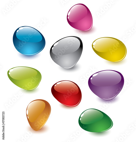 Poster  set of vector colorfull abstract glass stones
