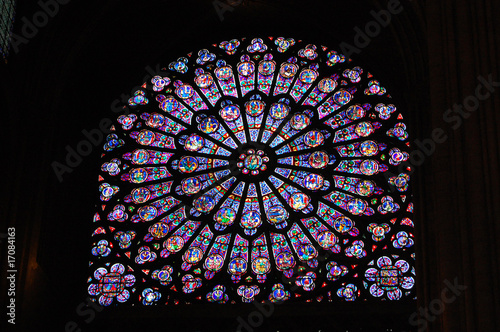Aluminium Prints Stained Notre Dame stain glass window