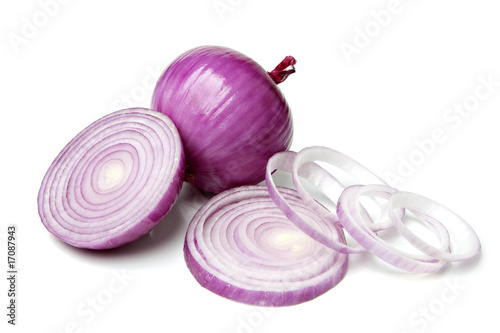 Fotografía  Red Onion with Slice and Rings