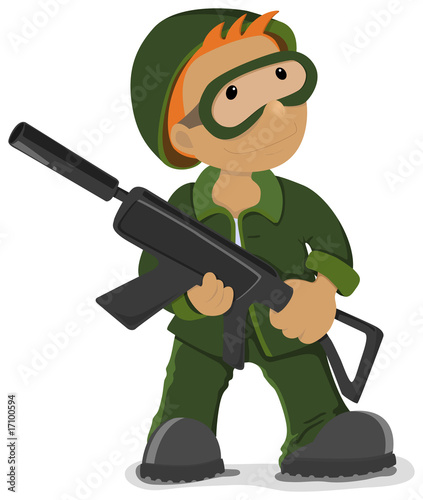 Poster Militaire Soldier holding the airsoft gun