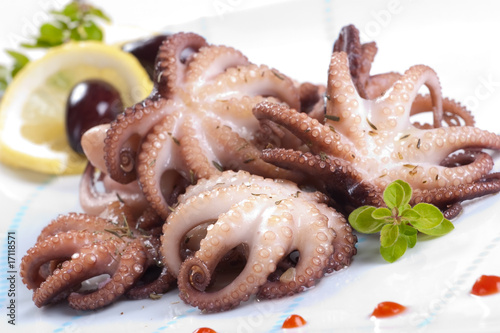 Fotografie, Obraz  Octopus in red wine