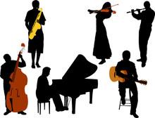 Musicians Silhouette Vector