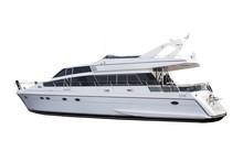 Medium Size White Luxury Yacht Isolated