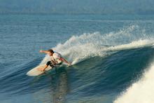 Surfer Doing Carving On Wave, ...