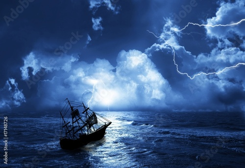 Türaufkleber Schiff sailing-ship in time of storm