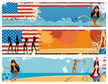 American Patriotic Vacation Banners.