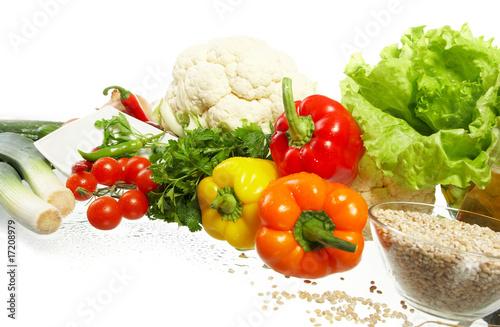 Poster Légumes frais Fresh Vegetables, Fruits and other foodstuffs.