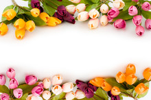 Frame Made Of Colourful Tulips