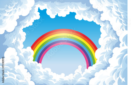 Poster Chambre d enfant Rainbow in the sky with clouds.
