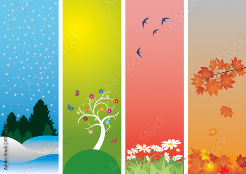 Poster Abstract wave Four Seasons