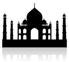 Taj Mahal India Vector Silhouette