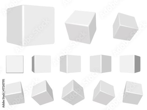vector white 3d cubes