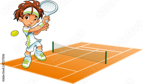 Poster Chambre d enfant Baby Tennis Player with background