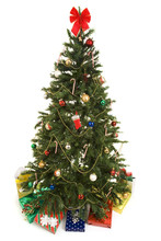 Christmas Tree With Gifts Isolated
