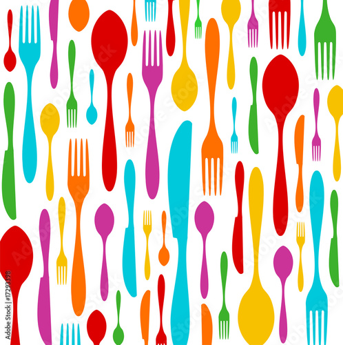 Canvastavla Cutlery colorful pattern on white