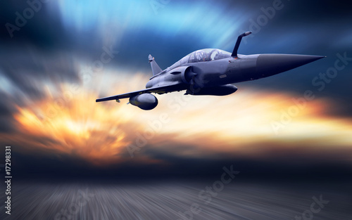 Foto Military airplan on the speed