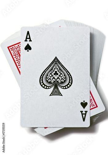 Photo  Ace of spades is on the deck of cards
