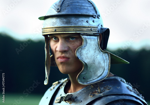 Fotografie, Obraz Roman soldiers. Close-up face.