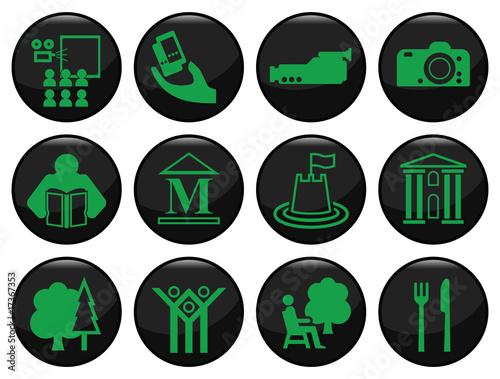 Plakaty BHP zestaw-czarny-ikona-rozrywki-i-wypoczynku