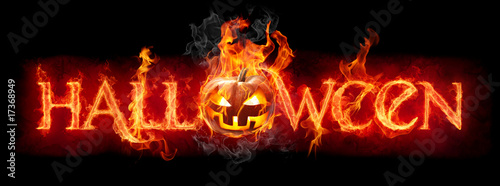 Stickers pour porte Flamme Halloween