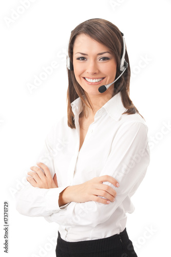 Fotografía  Support phone operator in headset, isolated on white