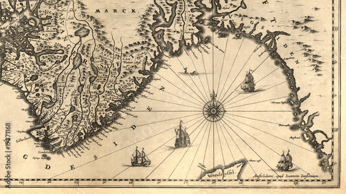Fotografie, Obraz  Ancient map of a southern part of Norway (1630)