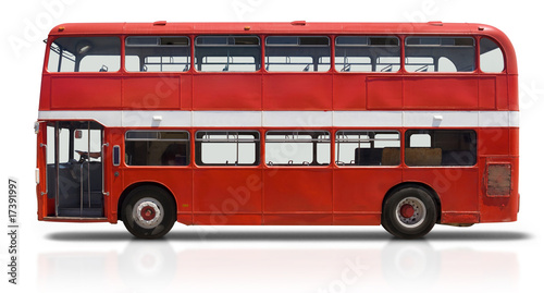 Foto op Plexiglas Londen rode bus Red Double Decker Bus on White