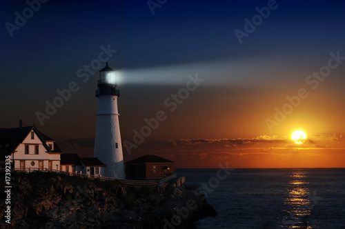 Fotografia, Obraz Lighthouse at dawn