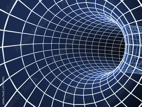 Fototapety, obrazy: Blue abstract 3d tunnel from a grid