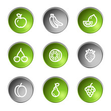 Fruit Web Icons, Green And Grey Circle Buttons Series