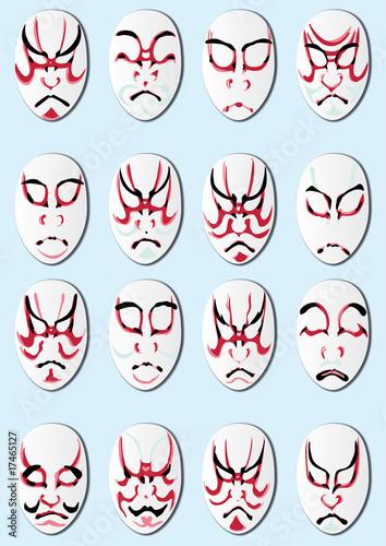 Personajes kabuki Wallpaper Mural